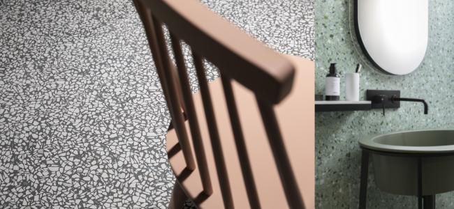 Stiilne plaadikollektsioon, mis meenutab korraga Veneetsia villade põrandaid ja Sottsass's Memphis Style'i mustreid 1980ndatest. Casa dolce casa – Casamood, tootja Florim, maaletooja Interstudio.