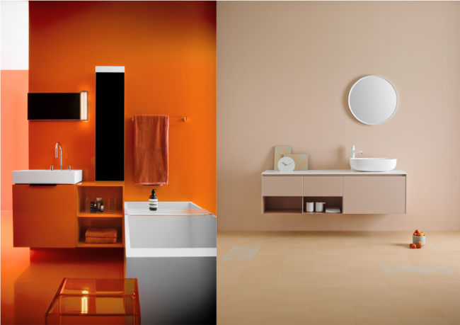 Vasakul: Kartell by Laufeni vannitoamööbel lisab turvalisele minimalismile pisut meeletut oranži.      Paremal: Lakoonilise vormiga mööbel pakub tänu laiale värvivalikule lõputult võimalusi. Tootja Inbani kollektsioon Strato.