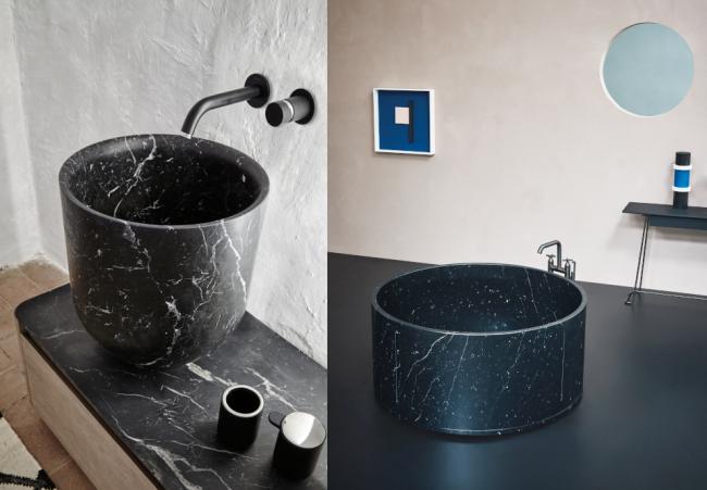 Vasakul: Mustast marmorist valamu kollektsioonist Origin. Tootja Inbani, maaletooja Interstudio.      Paremal: Nero Maroquina marmorist In-Out disainvann on kui kunstiteos, tootja Agape, maaletooja Interstudio.